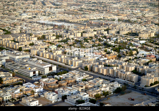 View showing residential and commercial districts of Riyadh, Saudi Arabia - Stock Image