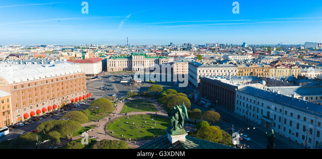 Panorama Of St Petersburg From Observation Deck Of St Isaak's Cathdral - Stock Image