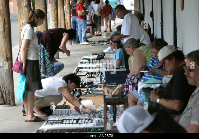 Albuquerque New Mexico Old Town Indian Trading Post vendors and shoppers T - Stock Image
