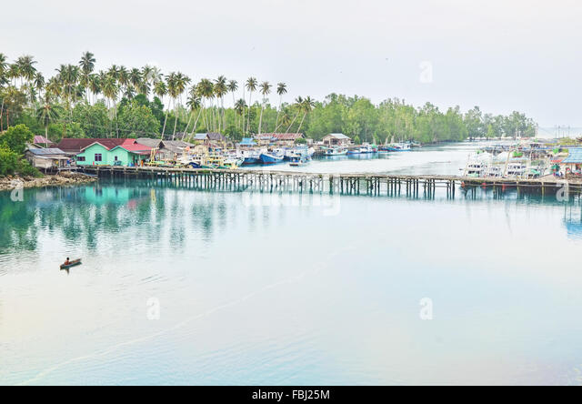 A coastal village of Labuan Kelambu, Biduk-Biduk, Berau - Stock Image