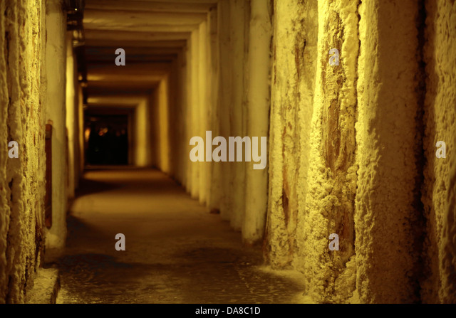 Picture presenting empty corridor in ancient building - Stock Image