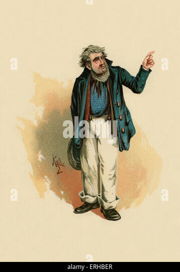 David Copperfield by Charles Dickens (1850). Illustration of Mr Peggotty. Caption reads:'I am a-going to seek - Stock-Bilder