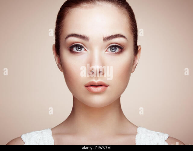 Beautiful woman face. Perfect makeup. Beauty fashion. Eyelashes. Cosmetic Eyeshadow - Stock Image