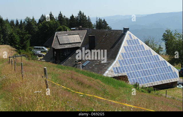View of the solar panels on the roof of the inn Rappendecker Huette in Oberried, Germany, 27 July 2012. Rappendecker - Stock Image