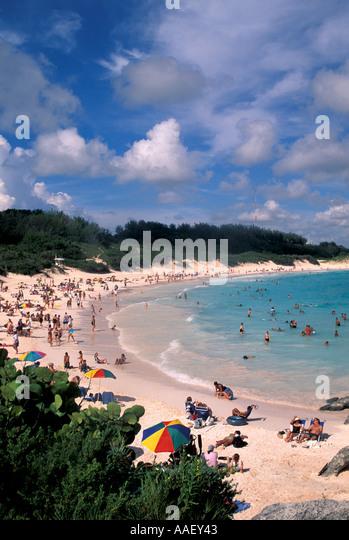 Bermuda Pink sand Beach Horseshoe Bay symbol blue sky background - Stock Image