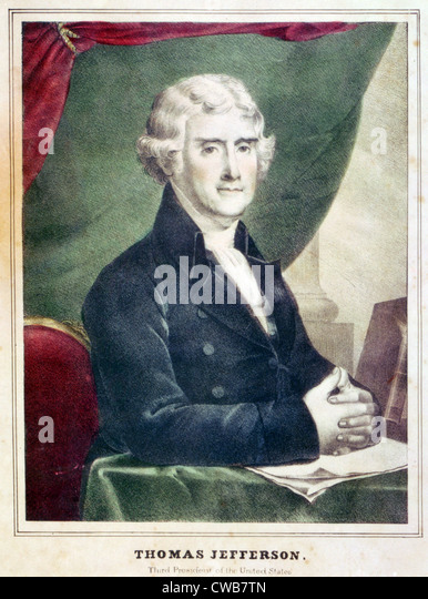 Thomas Jefferson, third President of the United States. Color lithograph, copy of a painting by Gilbert Stuart. - Stock-Bilder