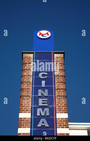 Cinema sign and blue sky, Regal Cinema Redruth Cornwall. - Stock Image