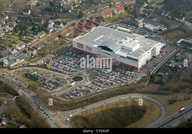 Aerial view, new location of the furniture company Zurbrueggen, furniture store, car park, Herne, Ruhr Area - Stock Image