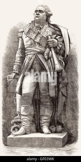 Admiral comte Pierre André de Suffren de Saint Tropez, bailli de Suffren,  1729-1788, a French admiral, statue - Stock-Bilder