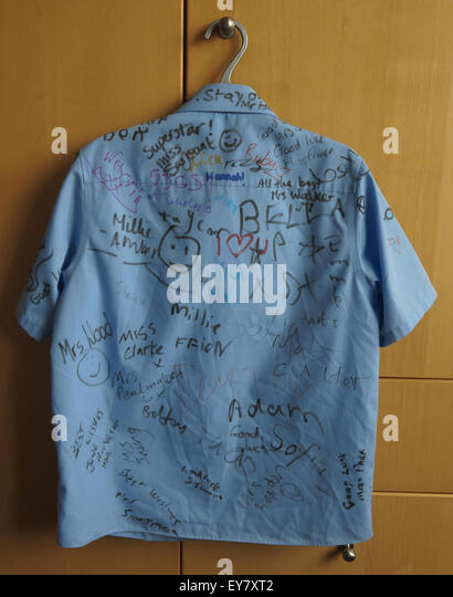 School Leavers Shirt with signatures of classmates - Stock Image