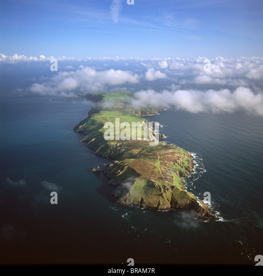 Aerial image of Lundy Island looking from north to south, Bristol Channel, Devon, England, United Kingdom, Europe - Stock-Bilder