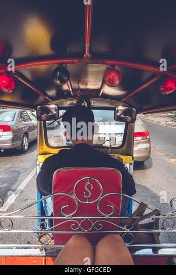 POV from the backseat of a Tuk Tuk in Bangkok, Thailand - Stock Image