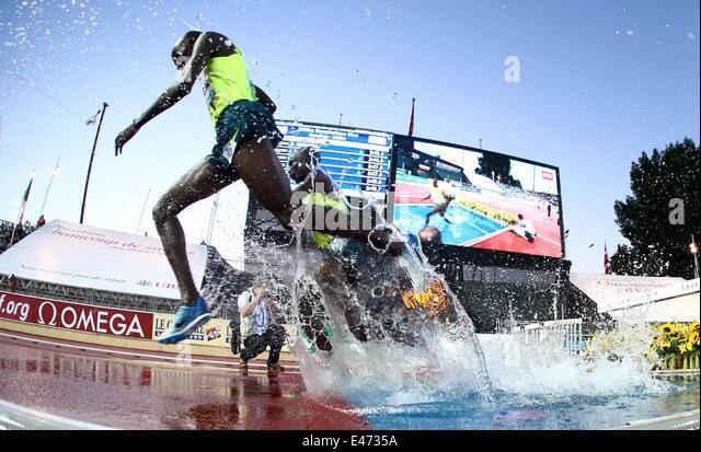 Lausanne, Switzerland. 03rd July, 2014. International athletics, IAAF Diamond League. 3000m steeplechase for men, - Stock-Bilder
