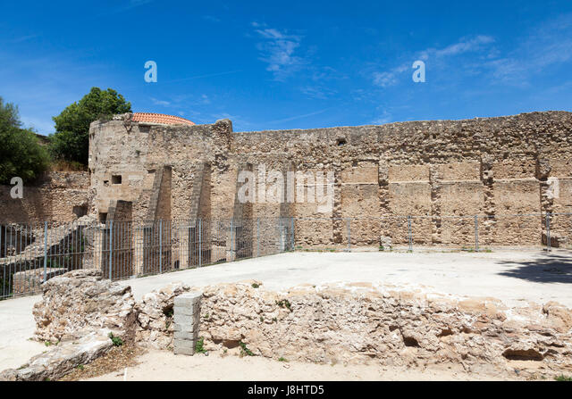 Remains of the ancient wall in Alghero, Northern Sardinia - Stock Image