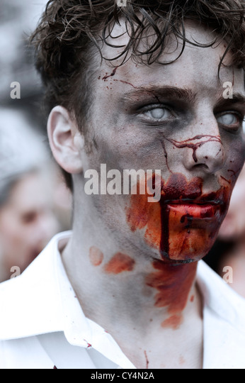 Zombie taking part in the Brighton Zombie Parade - 20th October 2012 - Stock Image