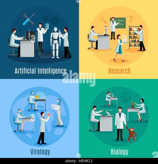 Scientists 2x2 Design Concept Set . Scientists 2x2 design concept set with researchers in field of biology virology - Stock-Bilder