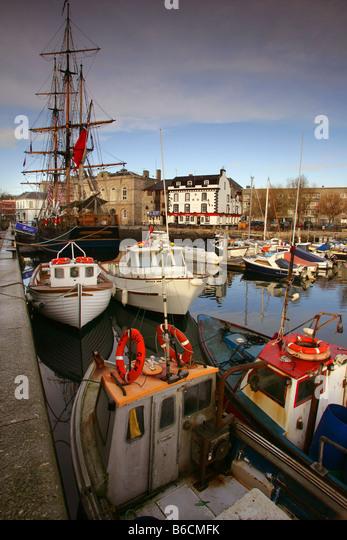 Sutton Harbour on the Barbican in Plymouth, Devon. - Stock-Bilder