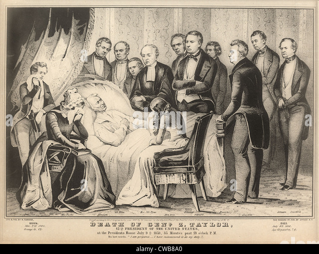 Zachary Taylor. Death of President Zachary Taylor. Taylor on his death bed, in the White House, July, 1850. - Stock-Bilder