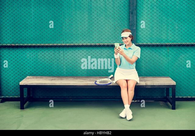 Tennis Asian Ethnicity Athlete Girl Woman Young Concept - Stock Image
