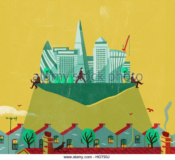 Contrast between businessmen working in financial district in London and terraced housing in suburbs - Stock-Bilder