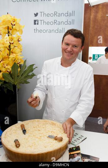 London, UK. 22nd June 2013. Taste of London 2013, Celebrity chef Theo Randall offers a sampling of Parmesan cheese - Stock Image