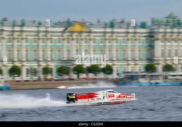 Russia. St. Petersburg. Russian stage race of Formula 1 on water. - Stock Image