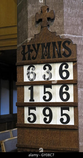 St Wilfrids Church Grappenhall- Hymn Numbers, Warrington Cheshire - Stock Image