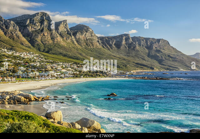 The beautiful city of Cape Town, with its gorgeous mountains white sand beaches and clear blue water - Stock Image