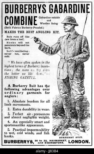 BURBERRY GABARDINE advert 1908 - Stock Image