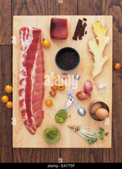 ingredients on cutting board - Stock Image