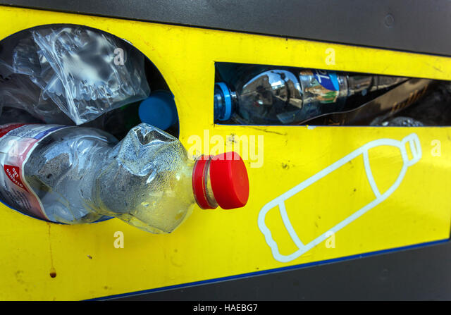 Container for used plastic bottles for recycling, Czech Republic - Stock Image