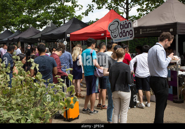 Kerb, a street food market just north of King's Cross Station - Stock Image