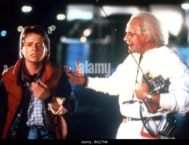 BACK TO THE FUTURE 1985 Universal film with Michael J Fox at left and Christopher Lloyd - Stock Image