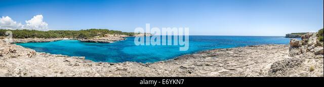 Mallorca national park. Cala Mandrago bay panorama - Stock Image