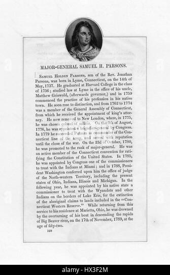 Passage about Samuel H Parsons, general in the Continental Army during the Revolutionary War, 1850. From the New - Stock Image
