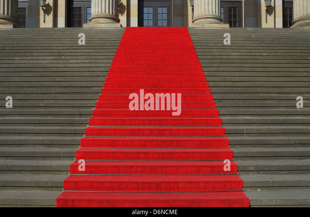 Berlin, Germany, Red Carpet on the stairs at the Konzerthaus am Gendarmenmarkt - Stock Image
