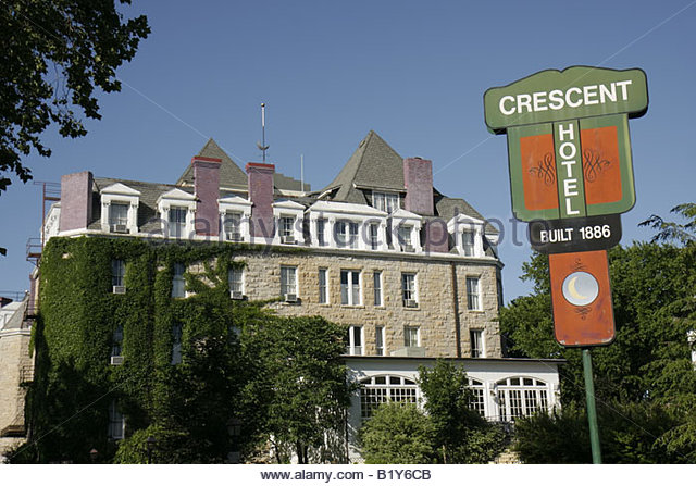 Arkansas Eureka Springs 1886 Crescent Hotel and Spa lodging historic sign limestone haunted ghost - Stock Image