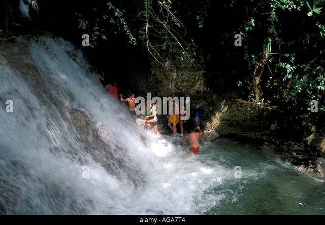Jamaica Dunn's River Falls Ocho Rios Jamaican landmark - Stock Image