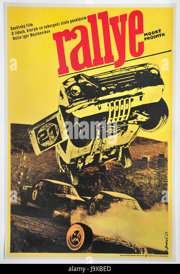 Blue Pass Rallye. Original Czechoslovak movie poster for Soviet movie. - Stock Image