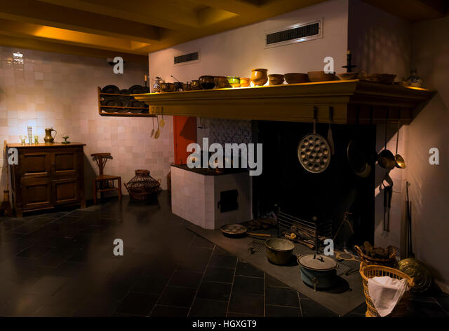 Kitchen, Rembrandt House Museum,  Rembrandthuis,  Amsterdam, Netherlands. - Stock Image