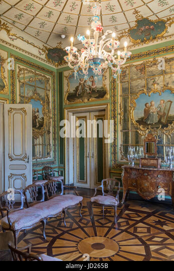 The National Palace of Queluz - Lisbon - Portugal. The Queen's Boudoir with a trellis design in the marquetry - Stock Image