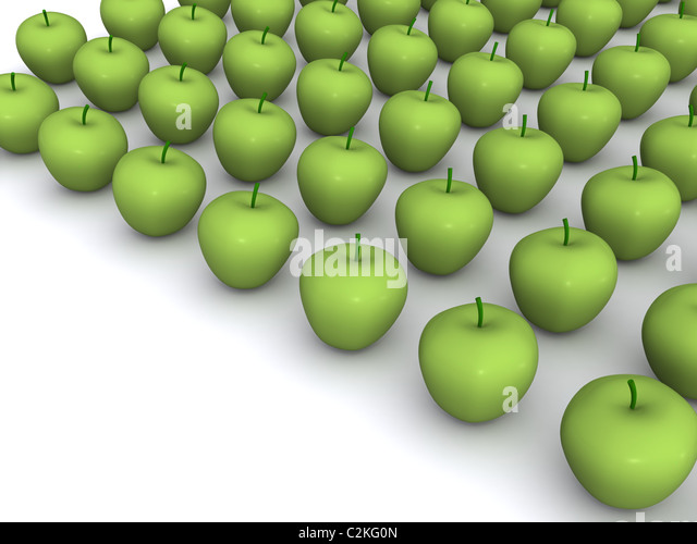 abundance of apples. 3d food - Stock Image
