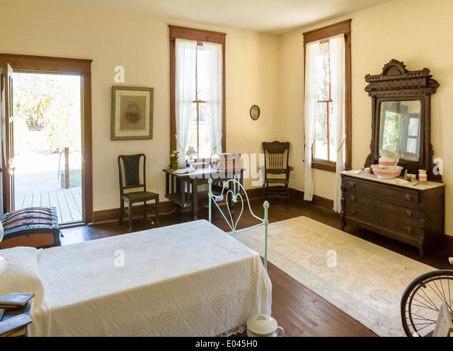 Bedroom in Planetary Court building of Koreshan Unity Settlement, Koreshan State Historic Park, Estero, Fort Myers, - Stock Image