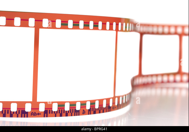 Close-up image of 35mm film strip isolated on white background - Stock Image