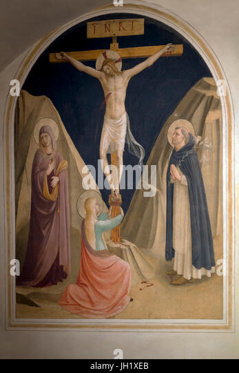 Crucifixion with the Virgin, Mary Magdalene and St Dominic, Cell 25, by Fra Beato Angelico, 1441-42, Convent of - Stock Image