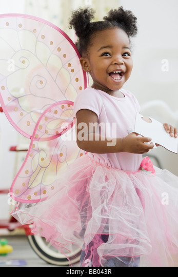 African American girl in fairy costume - Stock Image
