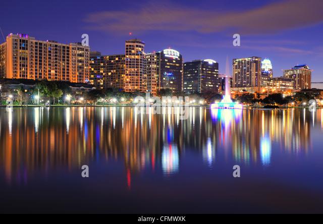 Skyline of Downtown Orlando, Florida at Lake Eola. - Stock Image