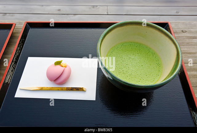 Green Tea and Sweets in Japan - Stock Image