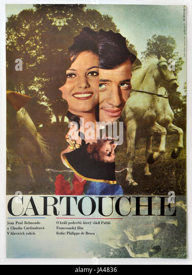 Cartouche. Original Czechoslovak movie poster for French historic comedy with Claudia Cardinale and Jean-Paul Belmondo. - Stock Image