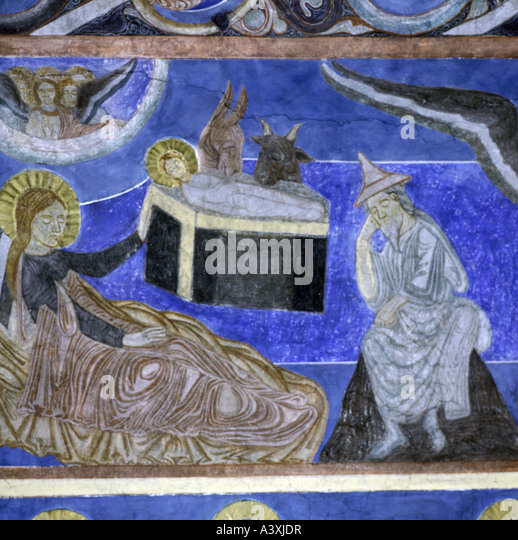 fine arts, religious art, Jesus Christ, birth, painting, fresco, 13th century, church of Bjäresjö, Ystad, - Stock-Bilder